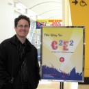 Rob Kohr in front of C2E2 sign